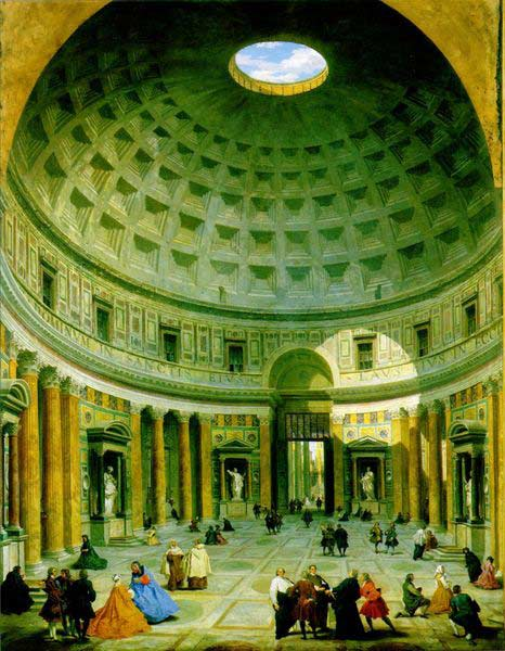 Interior of the Pantheon, a painting by Giovanni Paolo Panini