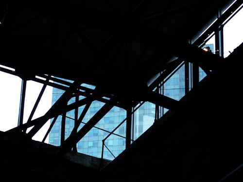 gnomon through sculpure center windows
